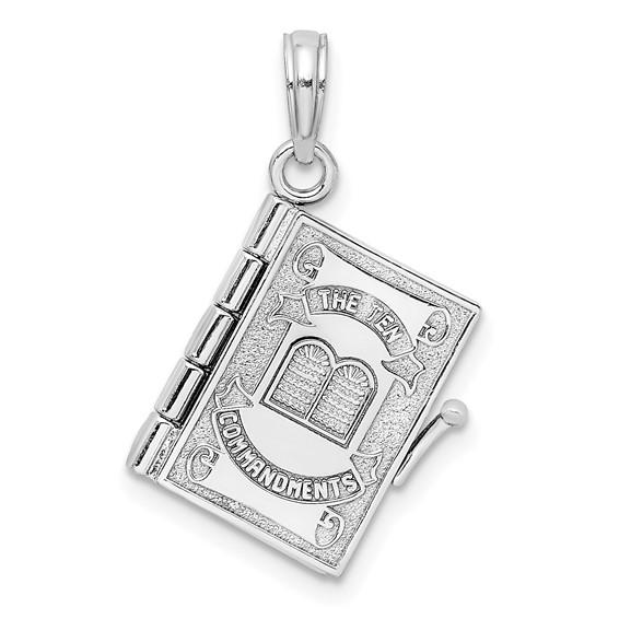14kt White Gold Ten Commandments Book Pendant