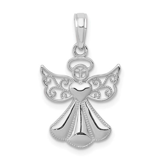 14kt White Gold 1/2in Filigree Angel Pendant