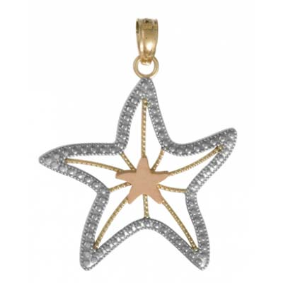 14kt Three-Tone Gold 7/8in Cut-Out Starfish Pendant