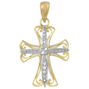 14 Yellow Gold and Rhodium Cut-Out Cross Pendant 3/4in