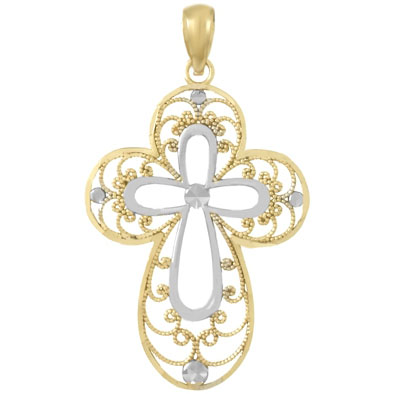 29mm 14kt Two-Color Gold Cut-Out Filigree Cross Pendant