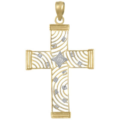 34mm 14kt Two-Color Gold Cut-Out Fancy Cross Pendant