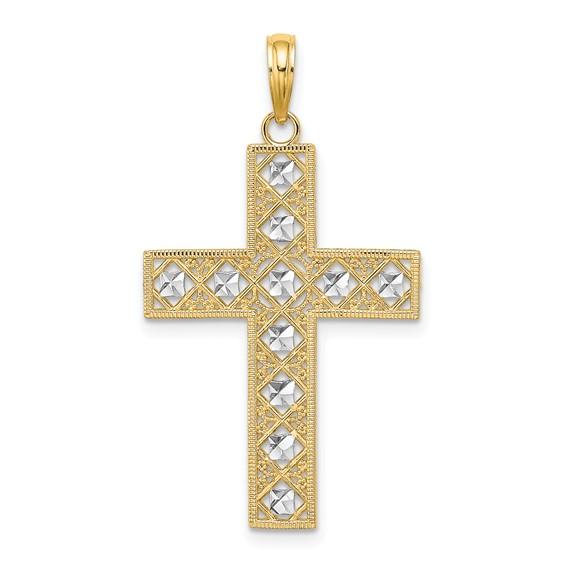 34mm 14kt Two-Color Gold Cut-Out Fancy Block Cross Pendant