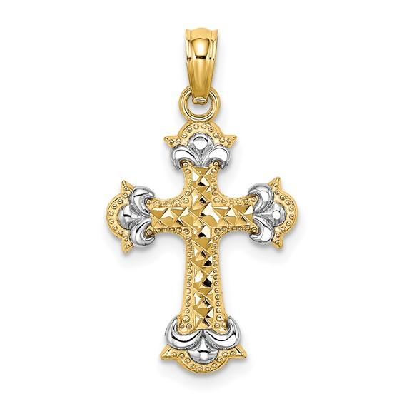 22mm 14kt Two-Color Gold Beaded Fancy Cross Pendant