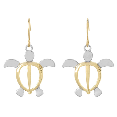 14kt Two-Tone Gold Large Sea Turtle Earrings