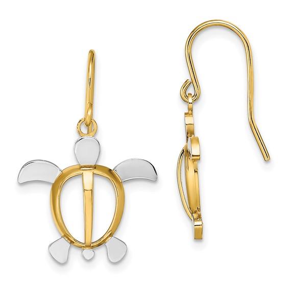 14k Two-Tone Gold Large Sea Turtle Dangle Earrings
