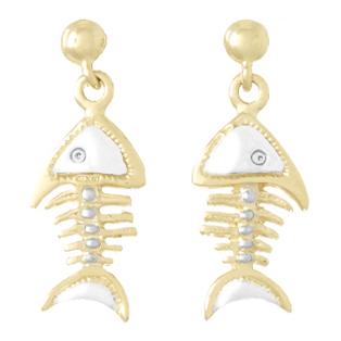 14kt Two-Tone Gold 1in Fishbone Earrings