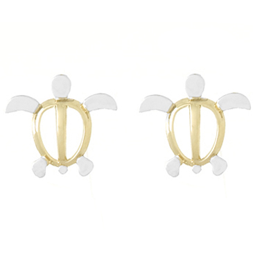 14kt Two-Tone Gold Small Sea Turtle Post Earrings