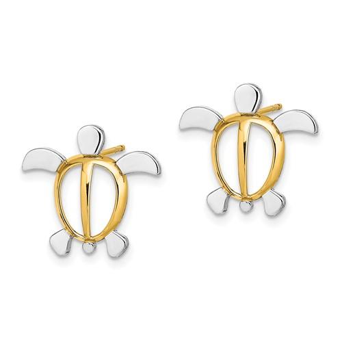 14kt Two-Tone Gold 5/8in Sea Turtle Post Earrings