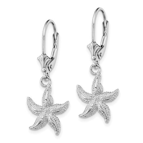 14kt White Gold Starfish Leverback Earrings