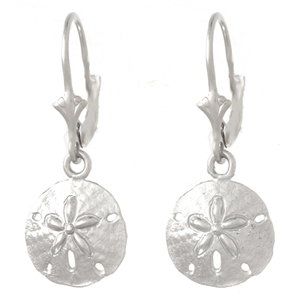 14kt White Gold Sand Dollar Leverback Earrings