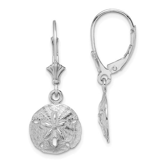 14kt White Gold Sand Dollar Leverback Earrings
