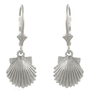 14kt White Gold Scallop Shell Leverback Earrings