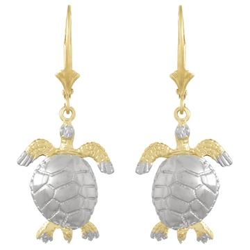 14kt Two-Tone Gold Sea Turtle Leverback Earrings