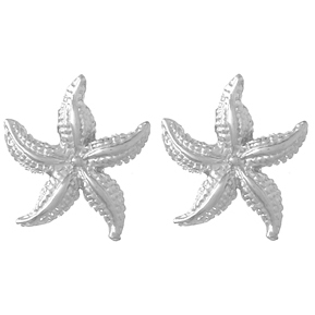 14kt White Gold 1/2in Starfish Post Earrings