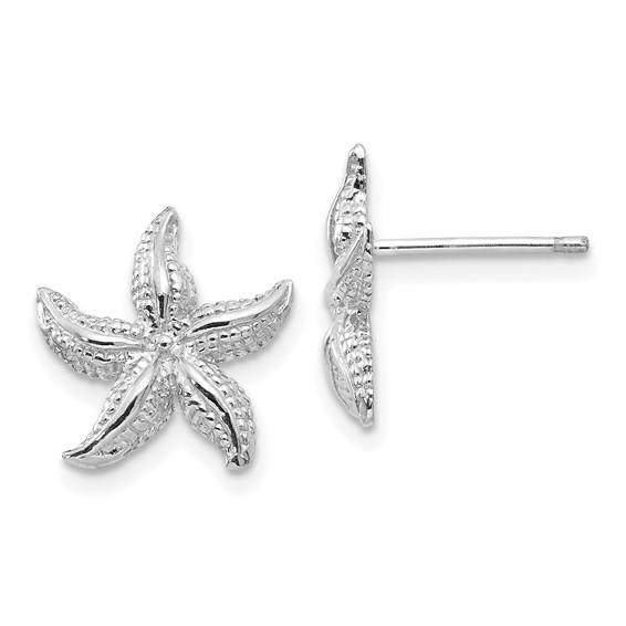 14kt White Gold 1/2in Starfish Post Earrings