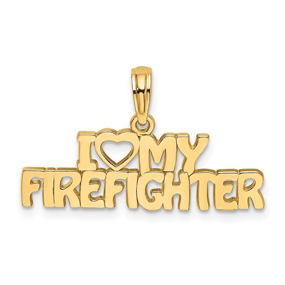 14k Yellow Gold I Love My Firefighter Pendant