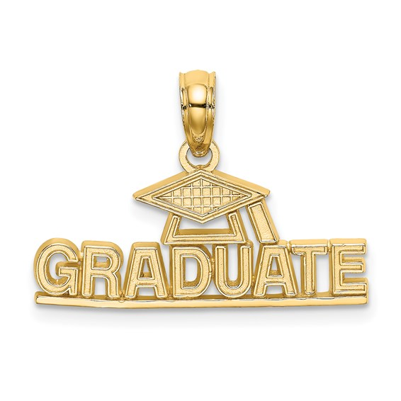14kt Yellow Gold 15mm Graduate Hat Pendant