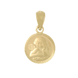14kt Yellow Gold 1/2in Angel Coin Pendant