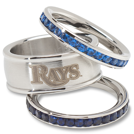 Tampa Bay Rays Team Logo Crystal Stacked Ring Set