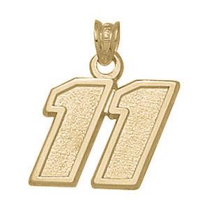 10kt Yellow Gold 1/2in Denny Hamlin No. 11 Pendant
