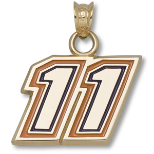 14kt Yellow Gold 1/2in Denny Hamlin #11 Enamel Pendant