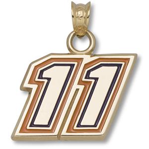 10kt Yellow Gold 1/2in Denny Hamlin #11 Enamel Pendant