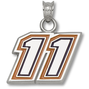 Sterling Silver 1/2in Denny Hamlin #11 Enamel Pendant