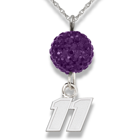 Sterling Silver Denny Hamlin #11 Crystal Ovation Necklace