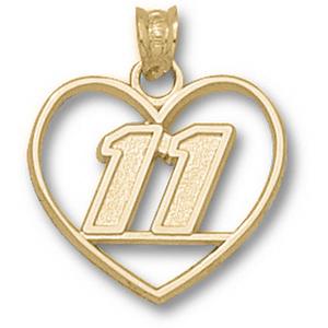 Denny Hamlin No. 11 3/4in 10k Heart Pendant