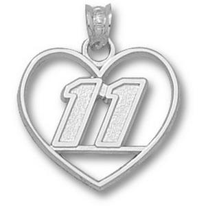 Denny Hamlin No. 11 3/4in Sterling Silver Heart Pendant