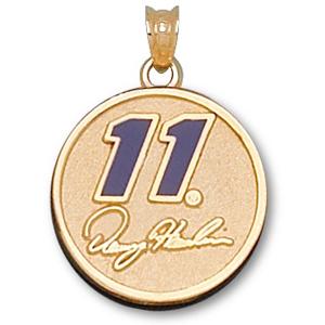 14kt Yellow Gold 3/4in Denny Hamlin Round Enamel Pendant