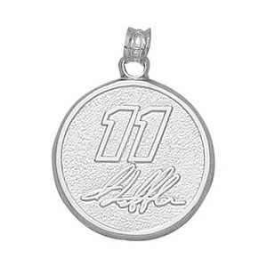 Sterling Silver 3/4in Denny Hamlin #11 Round Pendant