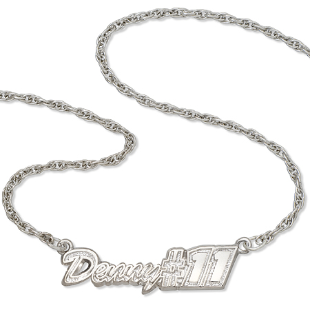 Sterling Silver 18in Denny Hamlin Script Necklace