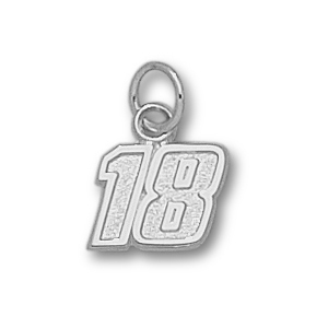 Sterling Silver 5/16in Kyle Busch #18 Charm