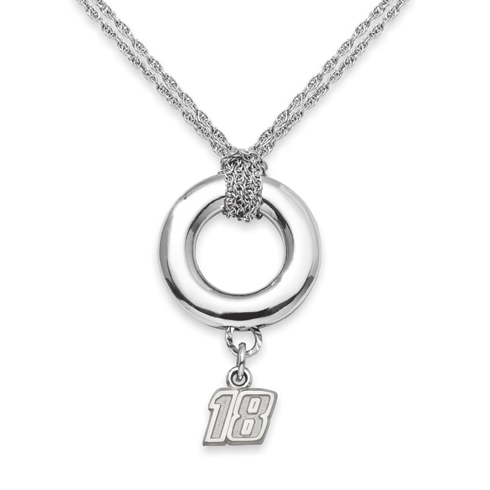 Sterling Silver 16in Kyle Busch #18 Halo Necklace