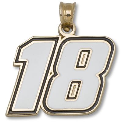 10kt Yellow Gold 1/2in Kyle Busch #18 Enamel Pendant