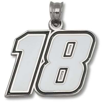 Sterling Silver 1/2in Kyle Busch #18 Enamel Pendant