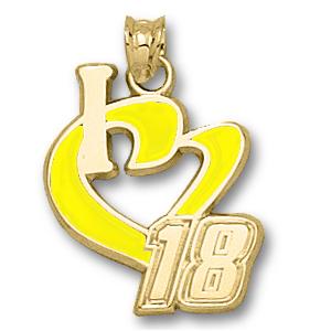 10kt Gold 3/4in I Love Kyle Busch #18 Enamel Pendant