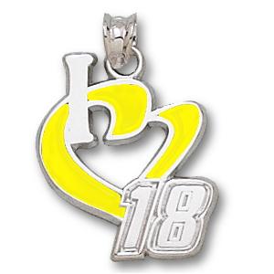 Sterling Silver 3/4in I Love Kyle Busch #18 Enamel Pendant