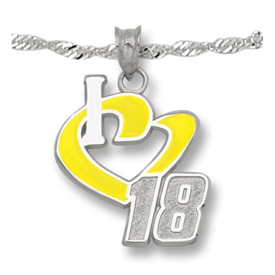 Sterling Silver I Love #18 Enamel Pendant on 18in Chain