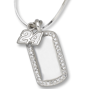 Sterling Silver Jeff Gordon #24 Mini Dog Tag Necklace