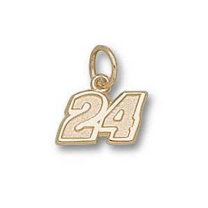 Sterling Silver 1/4in Jeff Gordon No. 24 Pendant