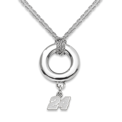 Sterling Silver 16in Jeff Gordon #24 Halo Necklace