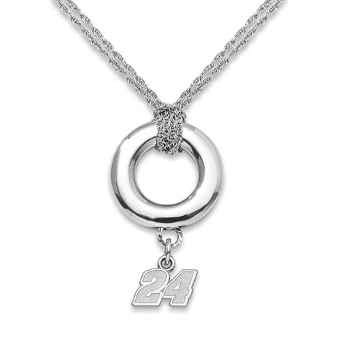 Sterling Silver 16in Jeff Gordon #24 Halo Necklace