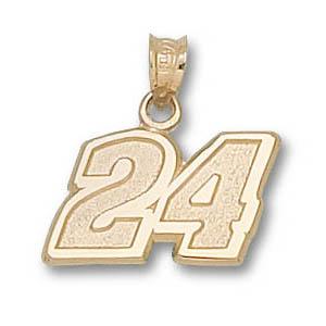 Jeff Gordon No. 24 7/16in 14k Pendant
