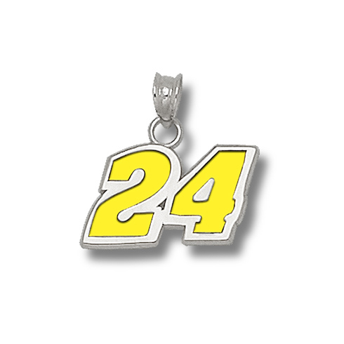 Sterling Silver 7/16in Jeff Gordon #24 Enamel Charm