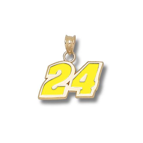 14kt Yellow Gold 7/16in Jeff Gordon #24 Enamel Charm