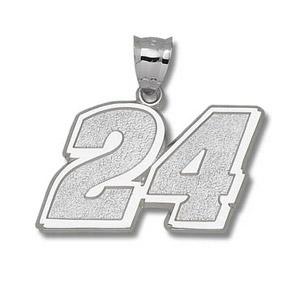 Jeff Gordon No. 24 1 1/16in Sterling Silver Pendant