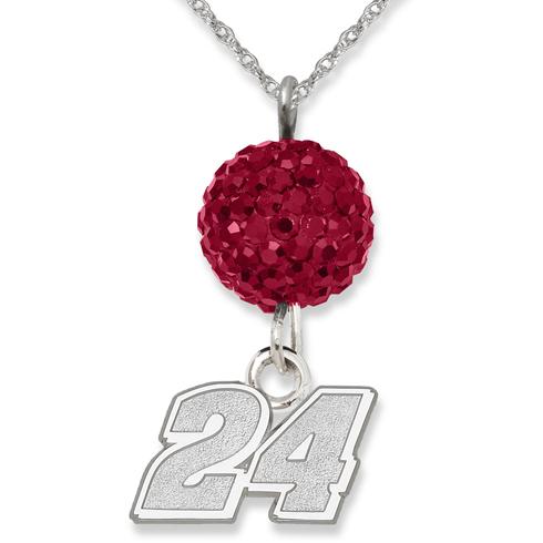 Sterling Silver Jeff Gordon #24 Crystal Ovation Necklace
